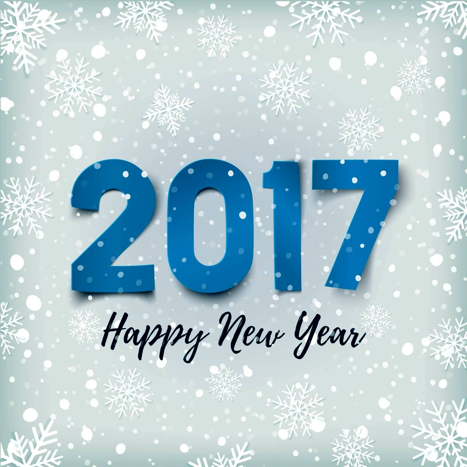 2017 Happy New Year Snowflakes Design Greeting Card